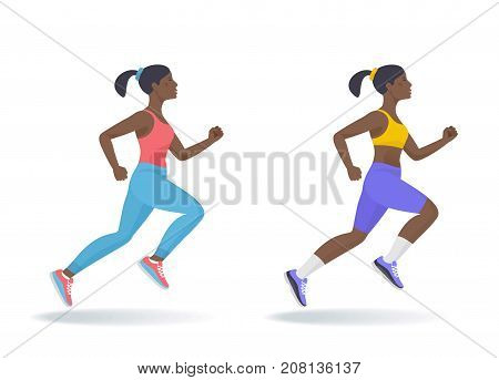 The running afro american woman set. Side view of active sporty running young women in a sportswear. Sport, jogging, fitness, workout, active people, concept. Flat vector illustration isolated on white