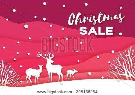 Merry Christmas Big Sale for Promotion. Deer couple in snowy forest. Origami snowy winter season. Happy holidays. New Year. Paper art style. Lazer cut. Red background. Vector Illustration