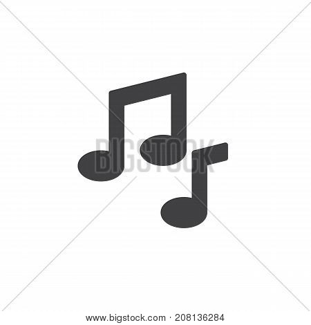 Musical note icon vector, filled flat sign, solid pictogram isolated on white. Symbol, logo illustration.