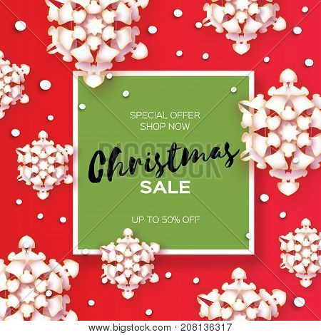 Merry Christmas Big Sale for Promotion. Paper cut Snowflakes. Origami carving Decorations. Square Frame. Snowfall Text. Lazer cut. Red background. Vector Illustration