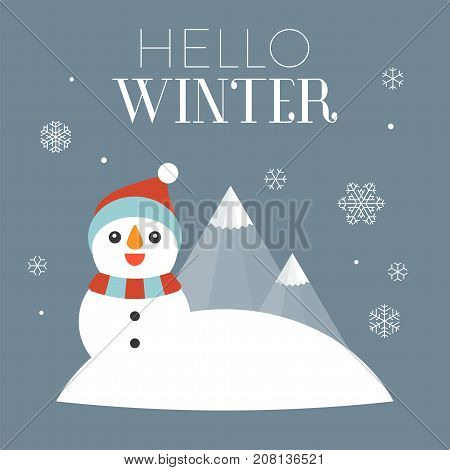 hello winter typography with illustration of snowman and falling snow flakes, flat design vector