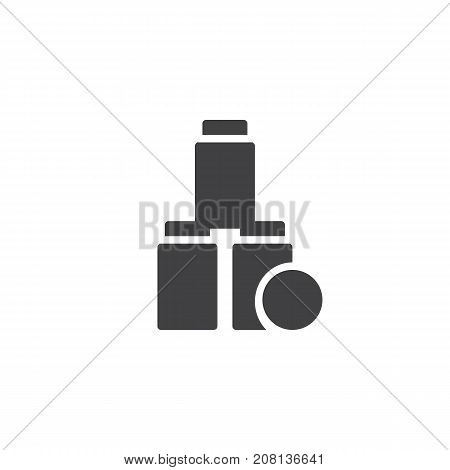 Tin can pyramid with tennis ball icon vector, filled flat sign, solid pictogram isolated on white. Symbol, logo illustration.