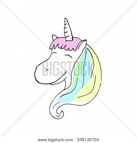 Smiling unicorn with colorful mane vector illustration. Cheerful unicorn girl with rainbow mane. Fantastic animal nursery print. Magic horse head sticker. Unicorn drawing in black line and candy color