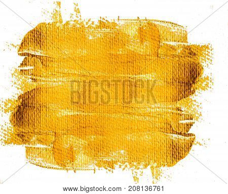Gold yellow grunge background. Gold painted banner