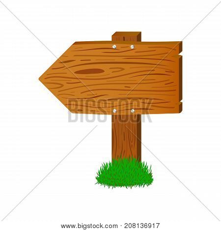 Cartoon wooden arrow sign. Timber board vector illustration on white background. Wooden arrow on stand with text place. Warm brown wood texture. Handdrawn sign for name or message. Street pointer