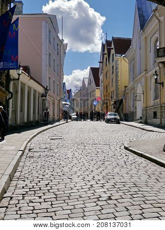 Street of old Tallinn (Vana Tallinn), April 2017, unknown group of tourists