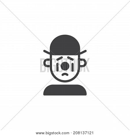 Sad clown icon vector, filled flat sign, solid pictogram isolated on white. Symbol, logo illustration.