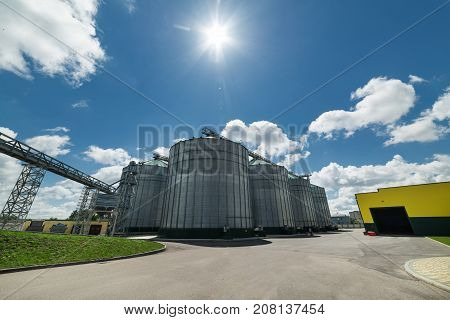 The modern granary. Sunny day, the blue sky. Industrial landscape