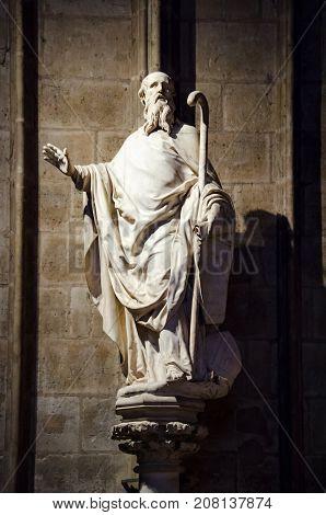 Statue Of St Denis At Notre Dame De Paris