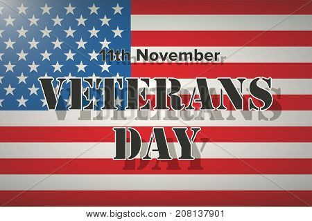 American Flag and Veterans Day Label. Poster of old and modern wars. Vector Illustration.