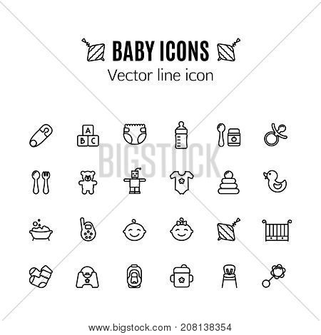 Baby toys thin line icon. Outline symbol kid plaything for games for the design of children's website, clinic and mobile applications. Outline stroke feeding, game, bathing pictograms. Pin, car seat, highchair, baby monitor, baby food and other baby acces