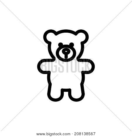 Teddy bear plush thin line icon. Outline symbol baby soft toy for the design of children's webstie and mobile applications. Outline stroke kid cute teddybear pictogram.