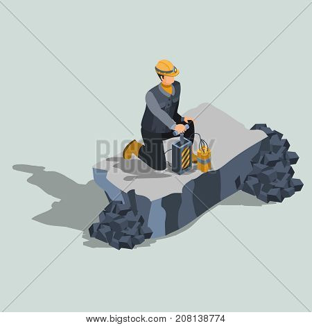 Explosives worker, ordnance handling expert, constriction or quarry   blaster in protective helmet, standing on a knee near remote control dynamite detonator isometric projection vector illustration