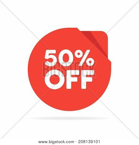 Special Offer Sale Red Round Circle Origami Tag. Discount Offer Price Label, Symbol For Advertising