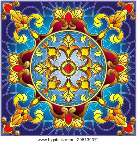 Illustration in stained glass style square mirror image with floral ornaments and swirlssquare image