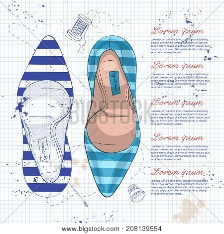 Vector sketch womens striped stiletto pumps on a notebook page