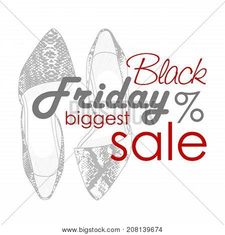 Vector sticker, black friday shoes sale, hand drawn pointy toe ballet flats sketch