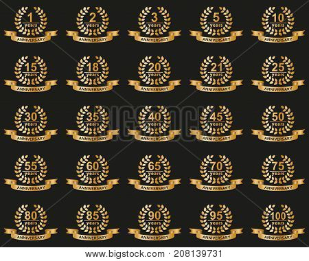 Laurel wreaths collection. Jubilee from 1 to 100 years. Vector illustration.