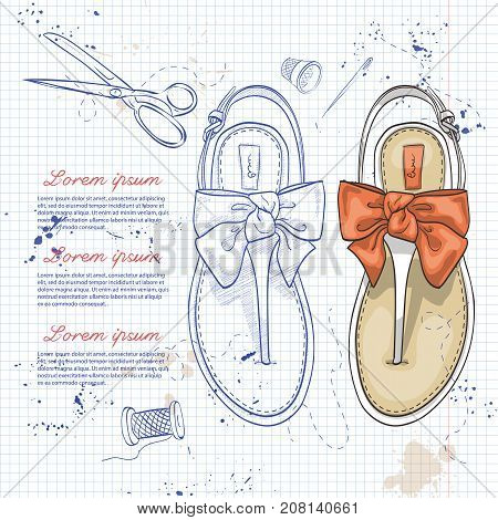 Vector two color womens t-strap flip flops with a bow on a notebook page
