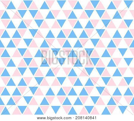Vector abstract background, seamless pattern. Blue pink white triangle shapes texture. Kids geometric mosaic pattern. Simple backdrop design for baby fabric.