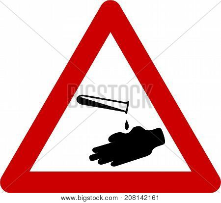 Warning sign with corrosive substances symbol on white background