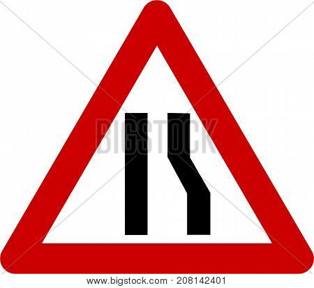 Warning sign with narrow road on right symbol on white background