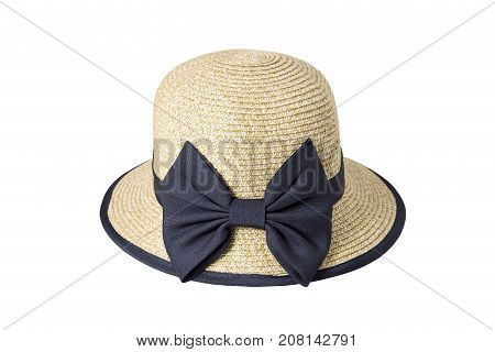 Woven hats decorated with black cloth tied with ribbon, isolated on a white background.
