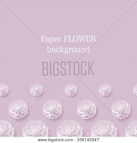 Card paper flower violet background below. Card paper flower in a violet background from below for designers and illustrators. Craftwork as a vector illustration