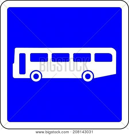 Bus allowed blue road sign on white background
