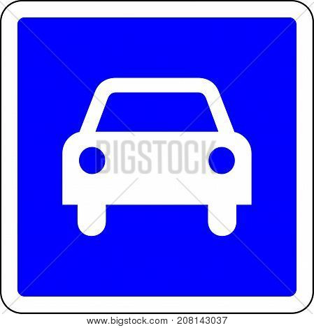 Only car allowed road sign on white background