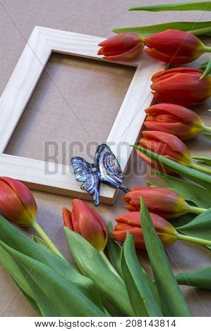 Glass blue butterfly on the wooden frame with many red tulips around