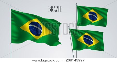 Brazil waving flag set of vector illustration. Green blue yellow colors of Brazil wavy realistic flag as a patriotic symbol