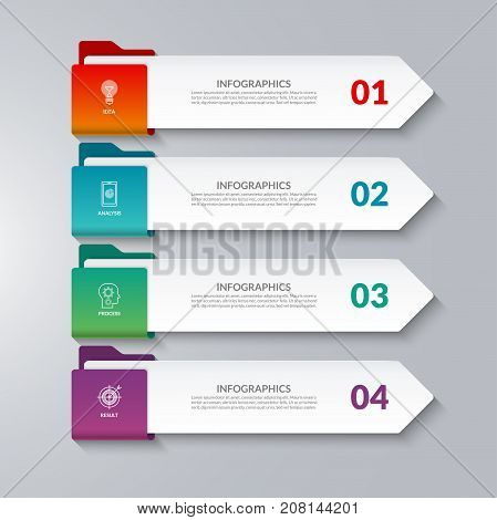 Infographic arrows. 4 options, steps, parts. Vector design elements for infographics. Can be used for workflow layout, diagram chart, graph, web design.