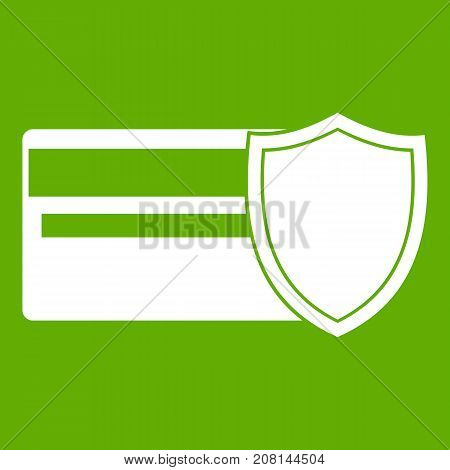 Credit card and shield icon white isolated on green background. Vector illustration