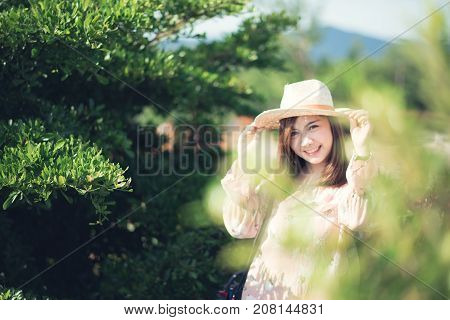Young girl relax outdoors. travel freedom concept