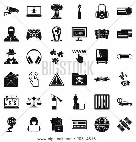 Hacking icons set. Simple style of 36 hacking vector icons for web isolated on white background