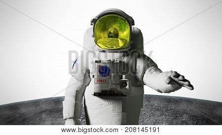 Astronaut Looks At The Earth From The Moon Elemen Ts Of This Image Furnished By Nasa 3D Render