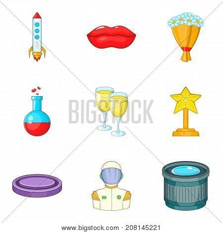 Movie award icons set. Cartoon set of 9 movie award vector icons for web isolated on white background