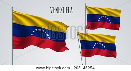 Venezuela waving flag set of vector illustration. Red yellow blue stripes of Venezuela wavy realistic flag as a patriotic symbol