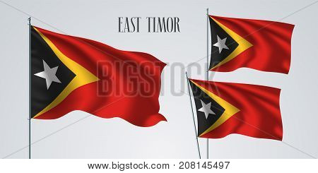 East Timor waving flag set of vector illustration. Red yellow and white star of East Timor wavy realistic flag as a patriotic symbol
