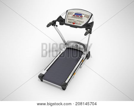 Modern Sports Jogging Track Gray With Black Metal 3D Render On Gray Background