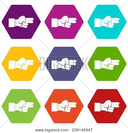 Hand showing two fingers icon set many color hexahedron isolated on white vector illustration
