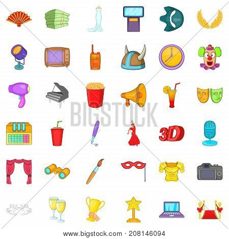 Entertainment cons set. Cartoon style of 36 entertainment vector icons for web isolated on white background