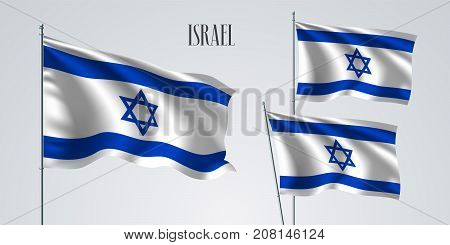 Israel waving flag set of vector illustration. White blue stripes of Israel wavy realistic flag as a patriotic symbol