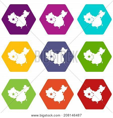 Map of China icon set many color hexahedron isolated on white vector illustration