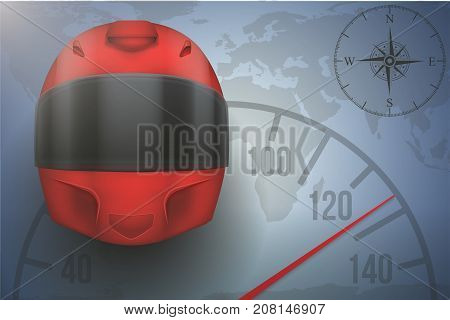 Background of Automobile and motorcycle sport tour. Red Racing Helmet on map with speedometer. Editable Vector Illustration.