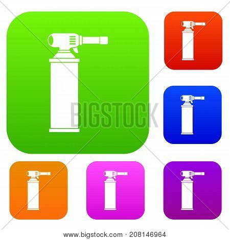 Gas cylinder set icon color in flat style isolated on white. Collection sings vector illustration