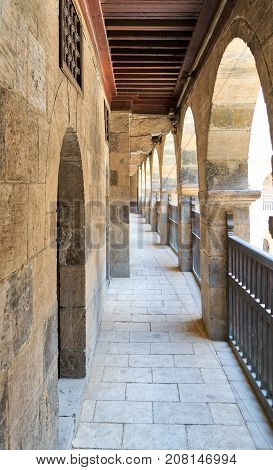 One of the arcades surrounding the courtyard of caravansary (Wikala) of Bazaraa Medieval Cairo Egypt