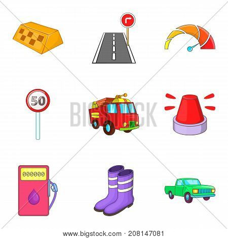 Fast driving icons set. Cartoon set of 9 fast driving vector icons for web isolated on white background