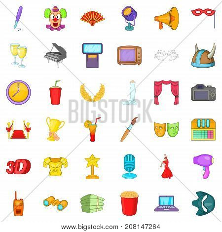 Spotlight cons set. Cartoon style of 36 spotlight vector icons for web isolated on white background